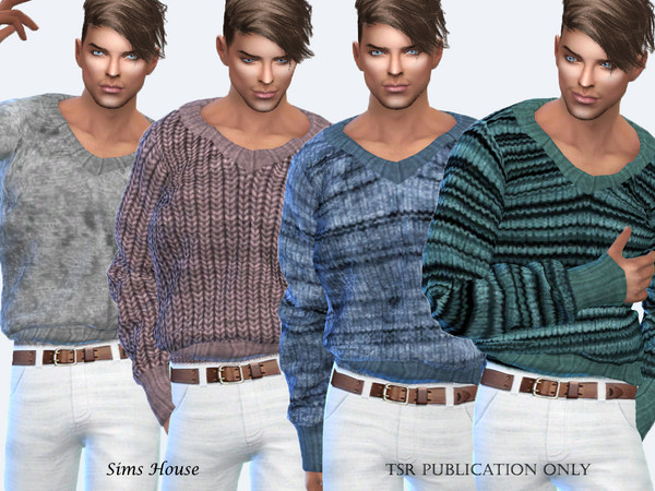 Mens Warm V neck Sweater 2 by Sims House at TSR image 1727 Sims 4 Updates