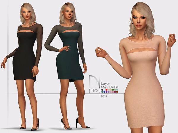 Layer Mini Dress by DarkNighTt at TSR image 1728 Sims 4 Updates