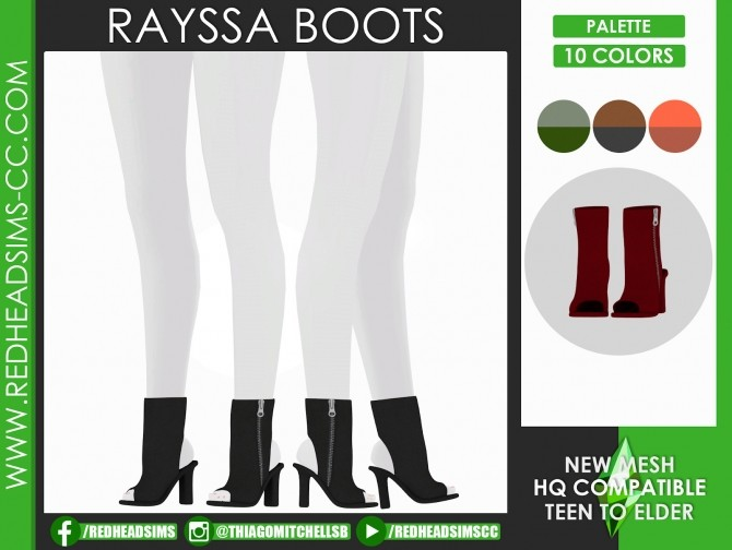 Sims 4 RAYSSA BOOTS by Thiago Mitchell at REDHEADSIMS