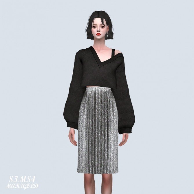 Sims 4 Velvet Pleats Midi Skirt (P) at Marigold