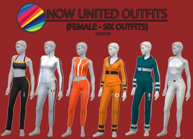 Sims 4 Now United outfits F by iSandor at Mod The Sims