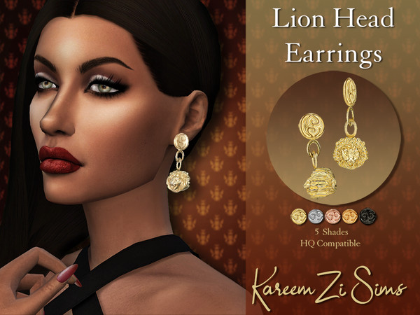 Lion Head Earrings by KareemZiSims at TSR image 183 Sims 4 Updates
