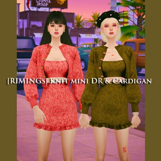 Sims 4 Knit mini dress and cardigan at RIMINGs