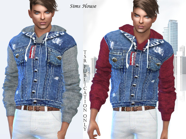 Sims 4 Mens sweater with a hood and a denim vest by Sims House at TSR