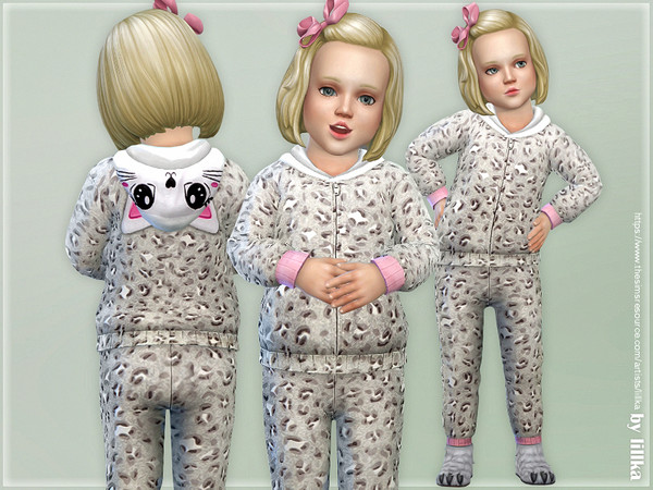 Sims 4 Gray Leopard Hooded Overall by lillka at TSR