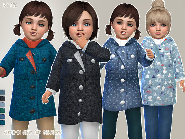 Autumn Coat For Toddlers by Pinkzombiecupcakes at TSR image 2019 Sims 4 Updates