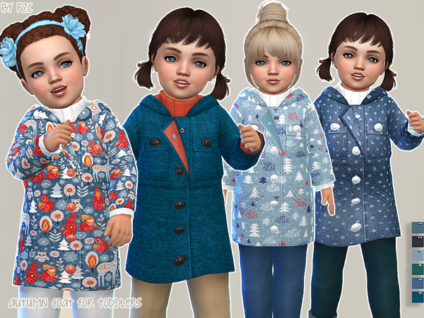 Autumn Coat For Toddlers by Pinkzombiecupcakes at TSR image 2120 Sims 4 Updates