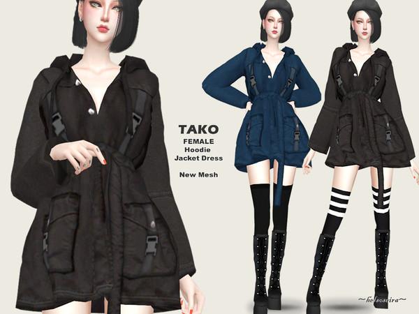 Sims 4 TAKO Hoodie Jacket Dress by Helsoseira at TSR