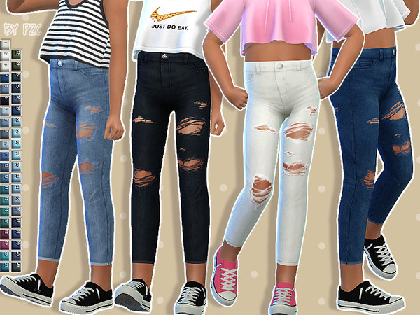 High Waisted Jeans for kids and Toddler Skirt by Pinkzombiecupcakes at TSR image 2218 Sims 4 Updates