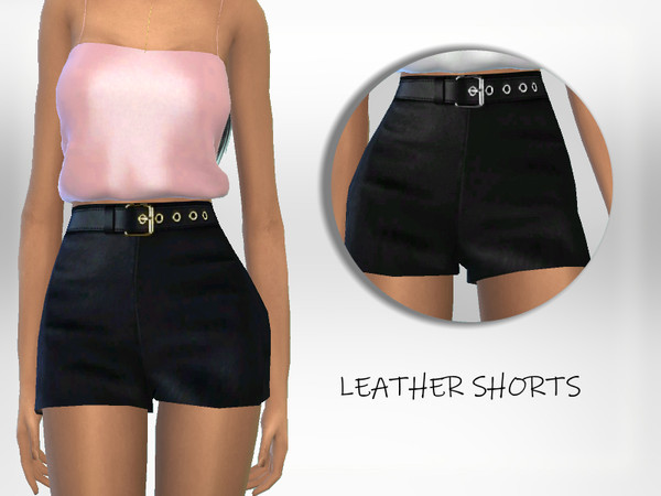 Sims 4 Leather Shorts by Puresim at TSR