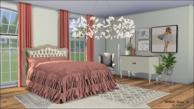 October Nights bedcover, pillows, cabinet, fern & R sculpture at DOMICILE Design TS4 image 2245 Sims 4 Updates