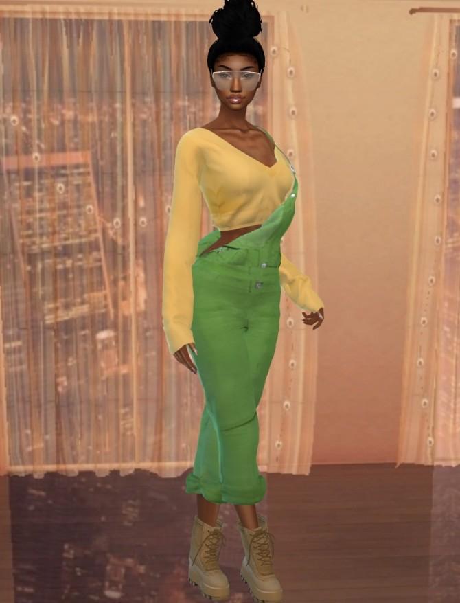 Sims 4 Corduroy Dungarees Recolor at Teenageeaglerunner