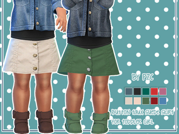 High Waisted Jeans for kids and Toddler Skirt by Pinkzombiecupcakes at TSR image 2317 Sims 4 Updates