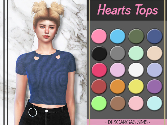 Hearts Tops at Descargas Sims image 2381 Sims 4 Updates