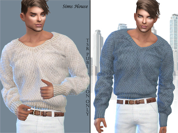 Mens Warm V neck Sweater by Sims House at TSR image 241 Sims 4 Updates