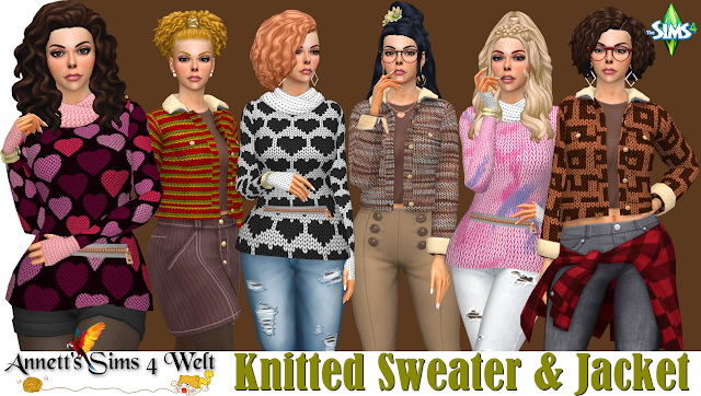 Sims 4 Knitted Jacket & Fitness Knitted Sweater at Annett's Sims 4 Welt