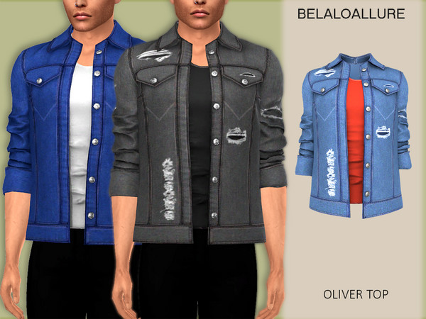 Sims 4 Belaloallure Oliver top by belal1997 at TSR