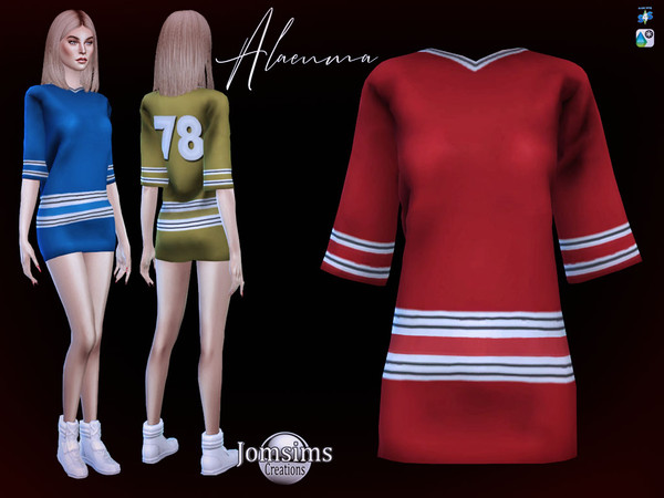 Sims 4 Alaenma T shirt dress by jomsims at TSR
