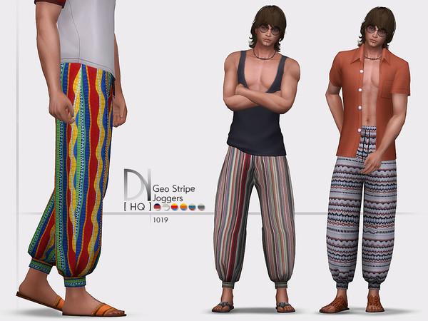 Sims 4 Geo Stripe Joggers by DarkNighTt at TSR
