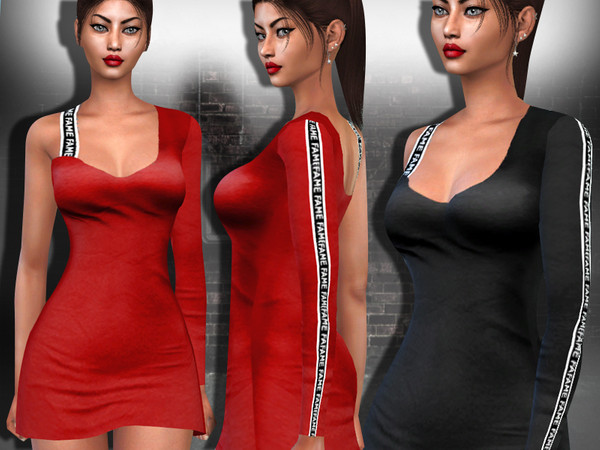 Sims 4 Assymetric One Shoulder Style Dress by Saliwa at TSR