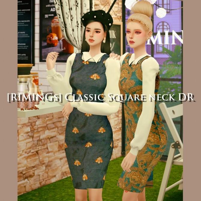 Sims 4 Classic square neck dress at RIMINGs