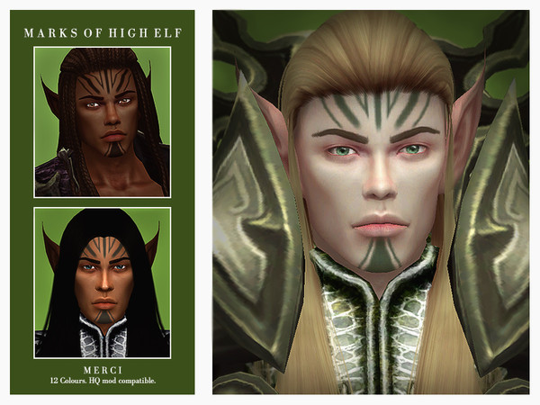 Sims 4 Marks Of High Elf by Merci at TSR