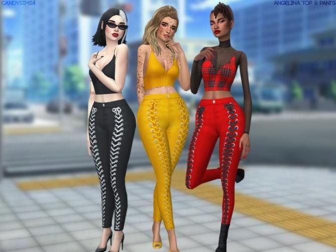Sims 4 ANGELINA TOP & PANTS at Candy Sims 4