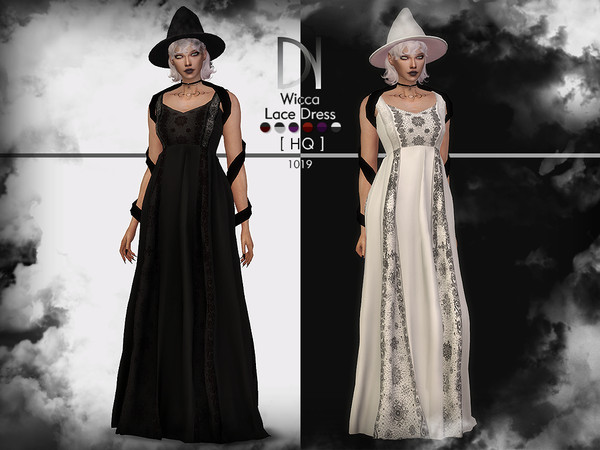 Sims 4 Wicca Lace Dress by DarkNighTt at TSR
