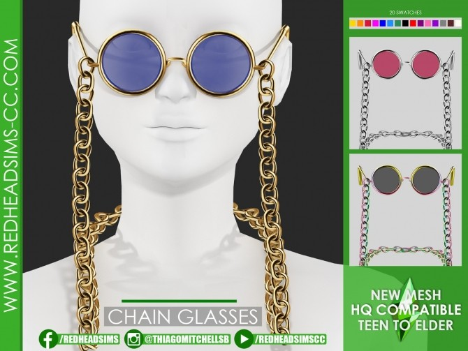 CHAIN GLASSES by Thiago Mitchell at REDHEADSIMS image 2921 670x503 Sims 4 Updates