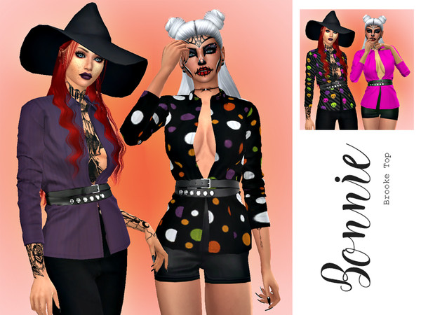 Sims 4 Bonnie Brooke Top Recolor by HazelsCloset at TSR