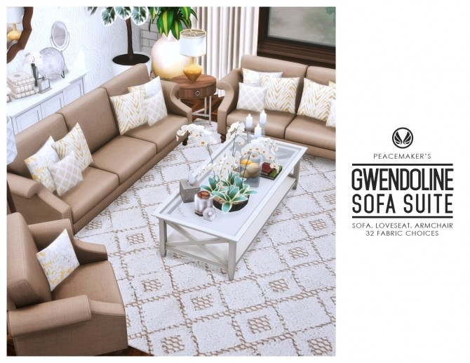 Gwendoline Sofa Suite Classic Scroll Arm Style at Simsational Designs image 298 670x517 Sims 4 Updates