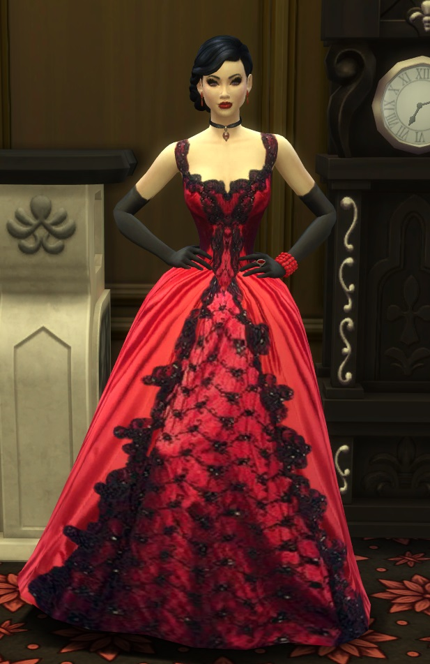 Sims 4 Crimson Symphony ball gown by simpress at Mod The Sims