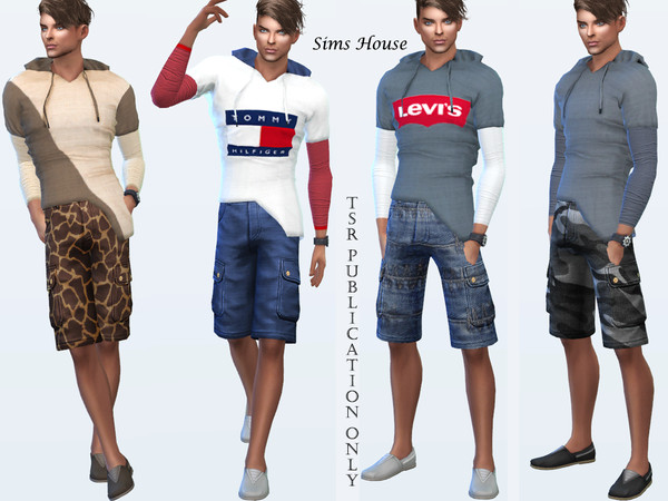 Sims 4 Mens t shirt with a hood long sleeve by Sims House at TSR