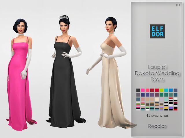 Sims 4 Laupipi Dakota Wedding Dress Recolor at Elfdor Sims