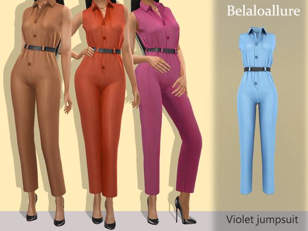 Sims 4 Belaloallure Violet jumpsuit by belal1997 at TSR