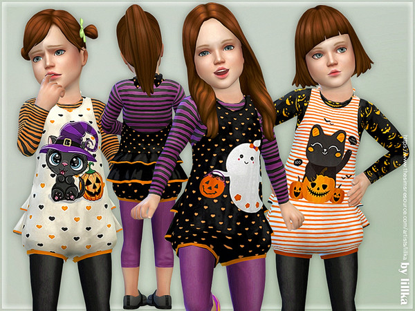 Sims 4 Toddler Girl Halloween Outfits by lillka at TSR
