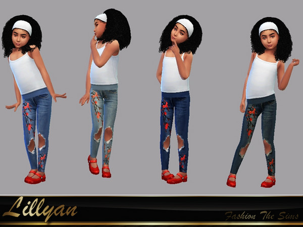 Jeans for Kids Sophia by LYLLYAN at TSR image 348 Sims 4 Updates