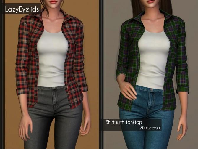 Sims 4 Shirt with tanktop at LazyEyelids