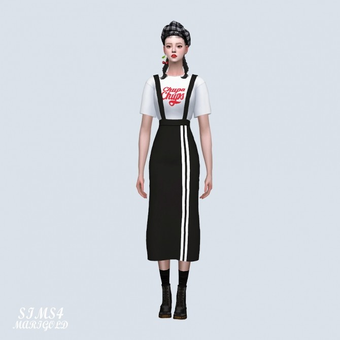 Suspenders Sporty Long Skirt With T shirt (P) at Marigold image 365 670x670 Sims 4 Updates