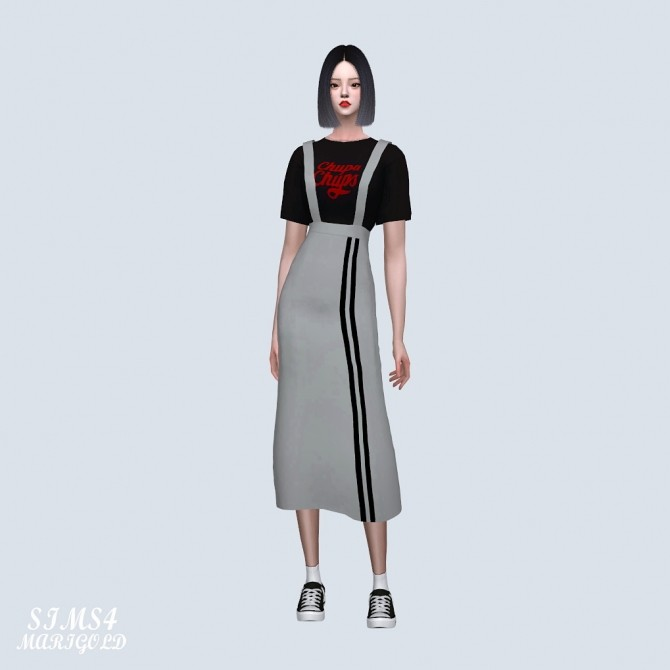 Suspenders Sporty Long Skirt With T shirt (P) at Marigold image 375 670x670 Sims 4 Updates