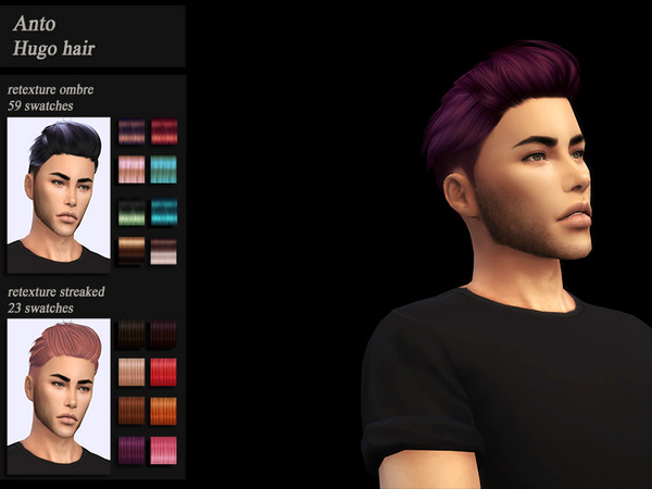 Sims 4 HoneysSims4 Recolor male hair Anto Hugo by Jenn Honeydew Hum at TSR