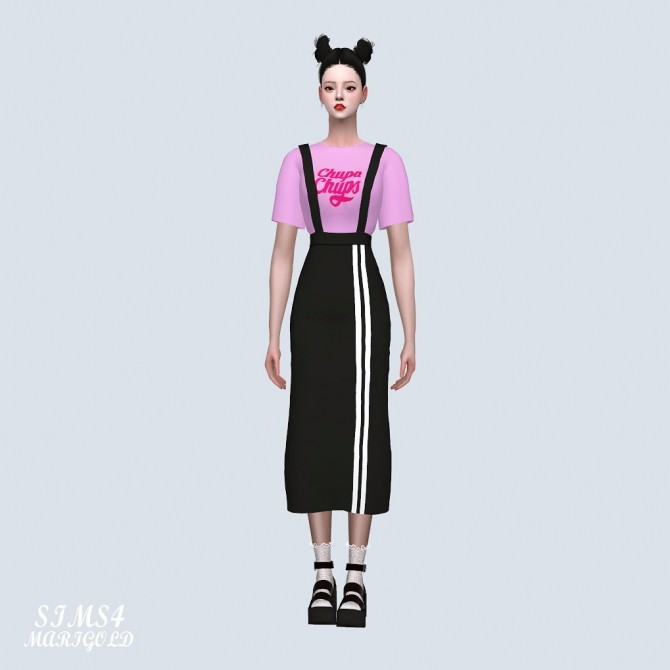 Suspenders Sporty Long Skirt With T shirt (P) at Marigold image 385 670x670 Sims 4 Updates
