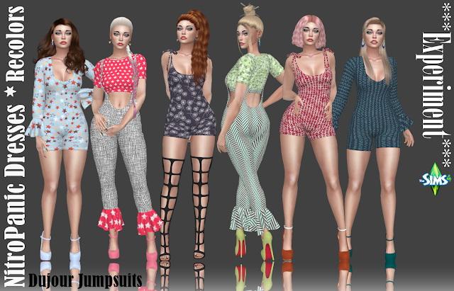 Sims 4 Experiment NitroPanic Dujour Jumpsuits Recolors at Annett's Sims 4 Welt