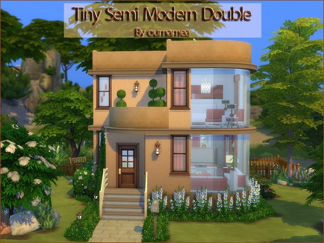 Tiny Semi Modern Double House by oumamea at Mod The Sims image 3912 670x503 Sims 4 Updates