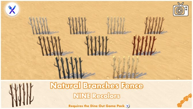 Natural Branches Fence by Bakie at Mod The Sims image 3913 670x377 Sims 4 Updates