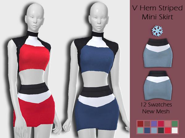 LMCS V Hem Striped Mini Skirt by Lisaminicatsims at TSR image 4019 Sims 4 Updates