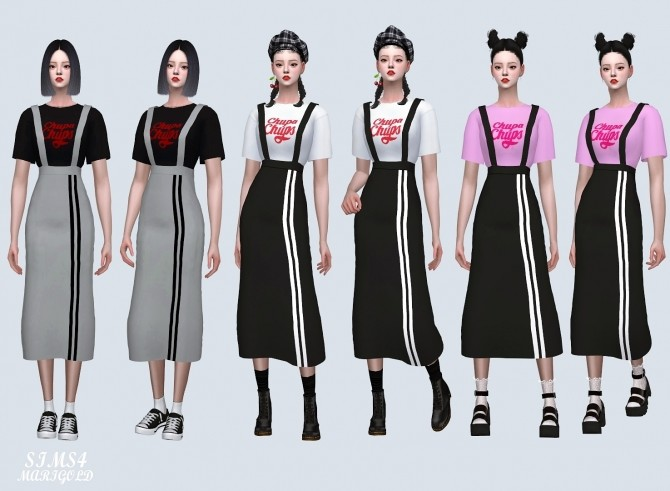 Suspenders Sporty Long Skirt With T shirt (P) at Marigold image 405 670x491 Sims 4 Updates