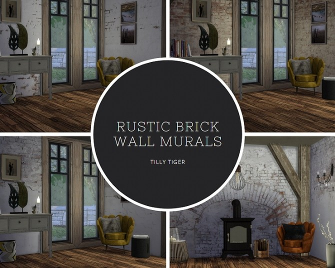 Rustic brick wall murals by Tilly Tiger at Blooming Rosy image 449 670x536 Sims 4 Updates