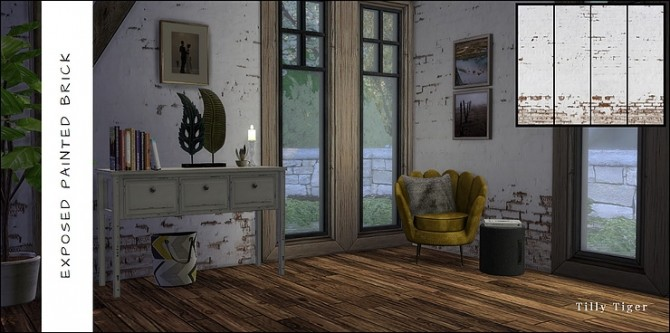 Rustic brick wall murals by Tilly Tiger at Blooming Rosy image 4510 670x333 Sims 4 Updates