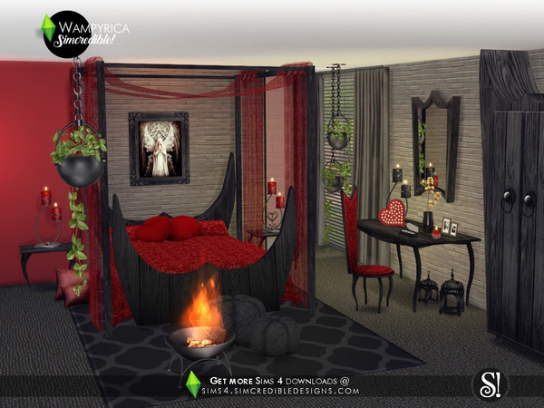 Sims 4 Wampyrica gothic style bedroom by SIMcredible at TSR